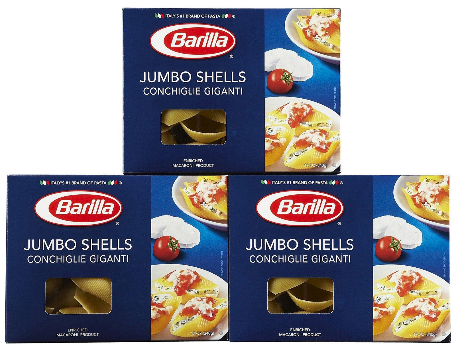 Barilla Jumbo Shells, 12 oz, 3 pk