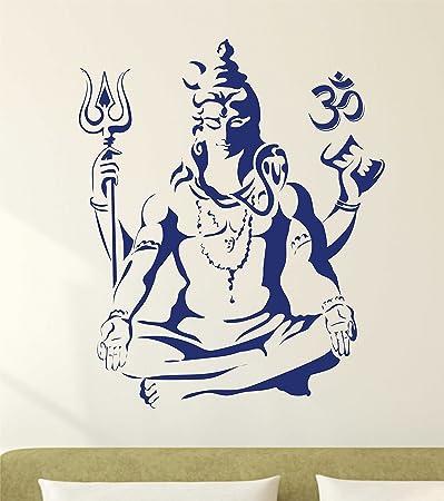Decals Design Lord Shiva Om Meditating Wall Sticker (PVC Vinyl, 50 cm x 70 cm, Blue)