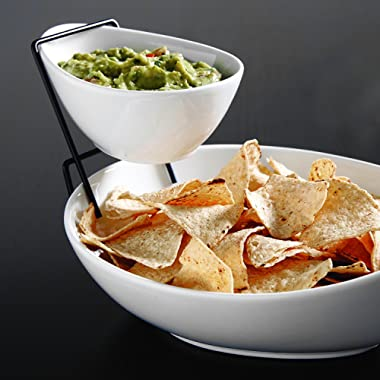 2 Tier Serving Stand,Durable Ceramic Food Display Stand – Chip and Dip, Appetizer Platter - Great for Chips, Dips, Salad and Other Snack Foods