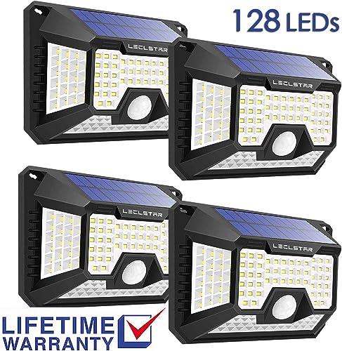Solar Motion Sensor Light Outdoor,New Upgrade 128 LEDs Solar Lights Outdoor,Motion Solar Lights Outdoor Waterproof,Led Solar Lights Outdoor Motion Sensor,Super Bright Solar Sensor Lights 4 Pack