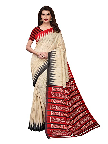 8a3e8f9902a AKHILAM Women s Solid Printed Art Silk Saree with Unstitched Blouse Piece  (Beige and Red ARTS104D)  Amazon.in  Clothing   Accessories