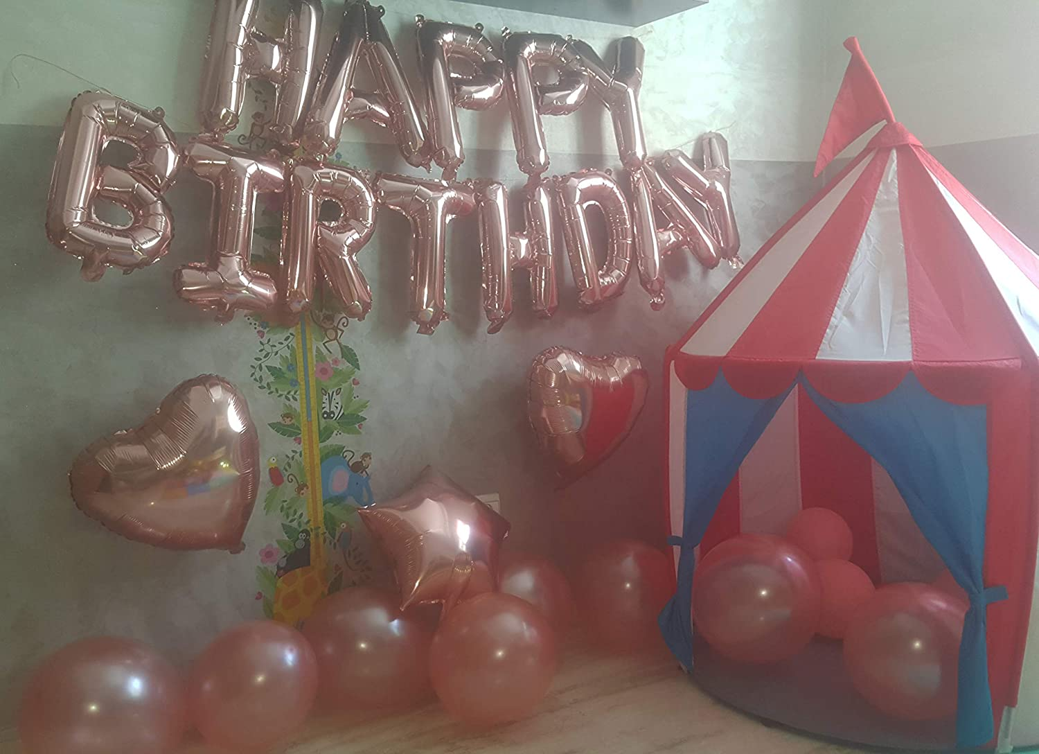 Rose Gold Happy Birthday Balloons Party Decoration Set 36 pcs , 13 Letter Balloons Banner 1 Star and 2 Heart Foil Balloon, 20pcs Latex Balloons, Best ...
