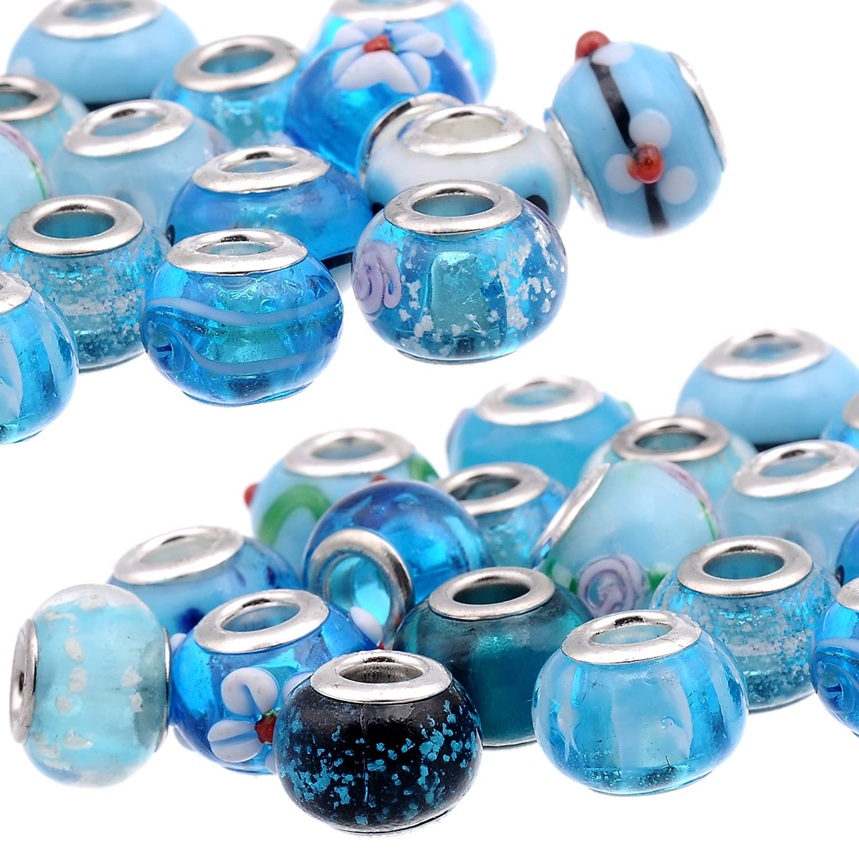 Royal Blue Vetro 30 pz Rubyca mix nero a lume di vetro di Murano rondelle braccialetti europei argento Colore 90PCS