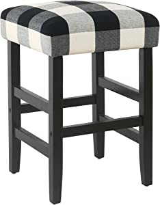 HomePop Open Back Counter Height Barstool, 24.5 inch, Black Plaid