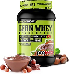 MuscleSport Lean Whey Revolution (2LB, Protella) Protein Powder, Whey Protein Isolate, Fat Burning, Weight Loss, Low Calorie, Low Carb, Low Fat, Incredible Flavors