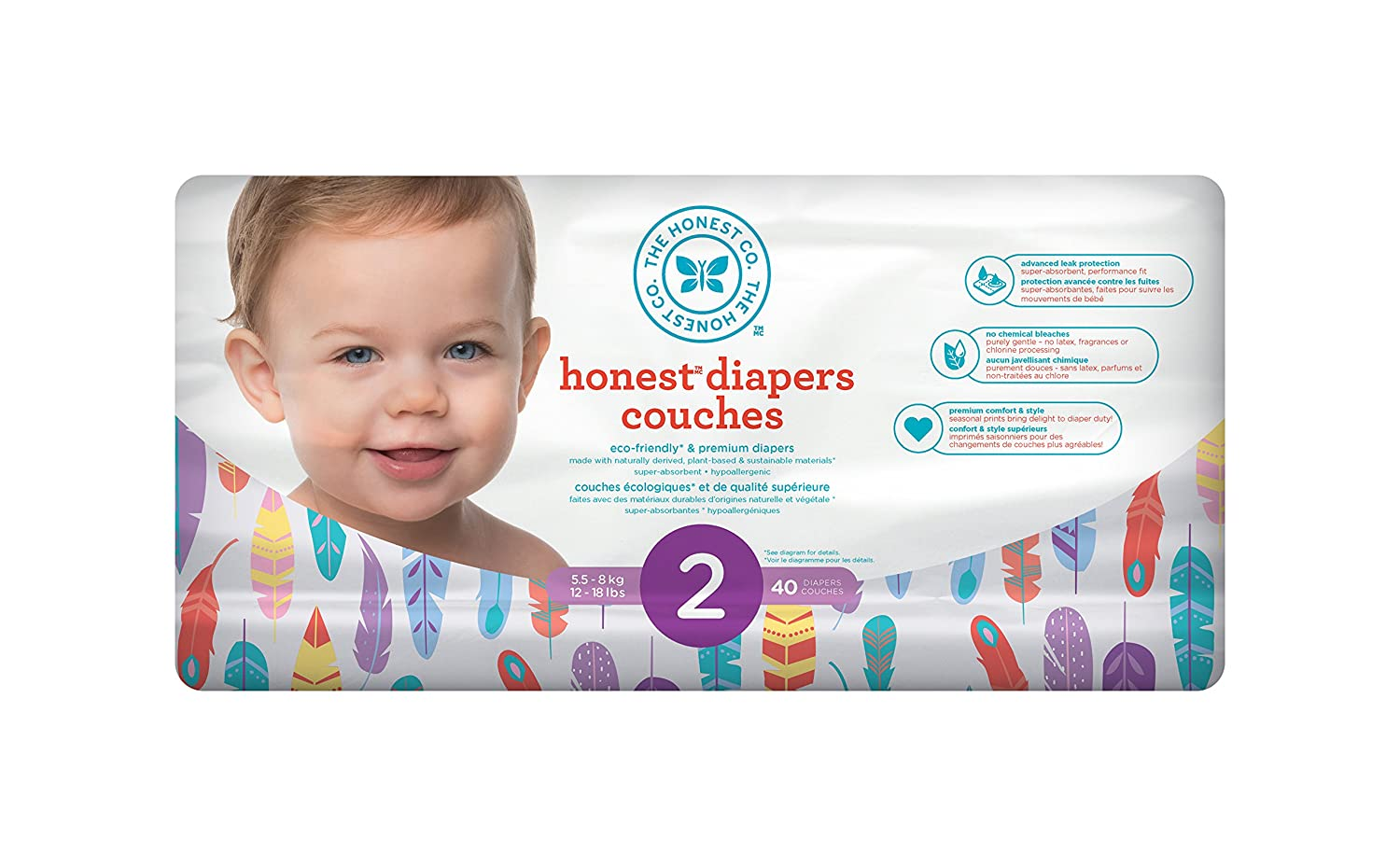 size 2 painted feathers ptin polybag 40 Count The Honest Company Disposable diapers
