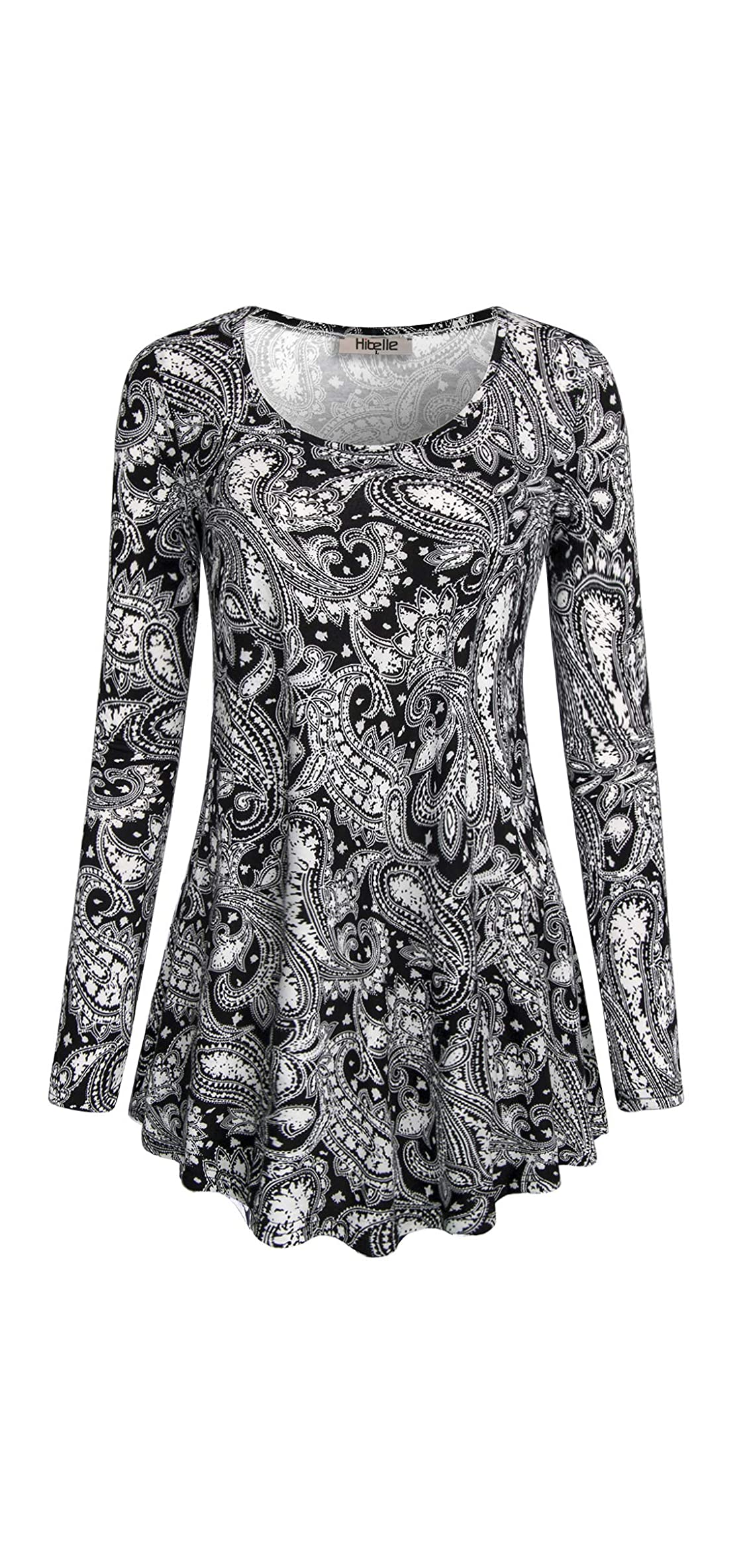 Women's Scoop Neck Long Sleeve Casual Printed Flared