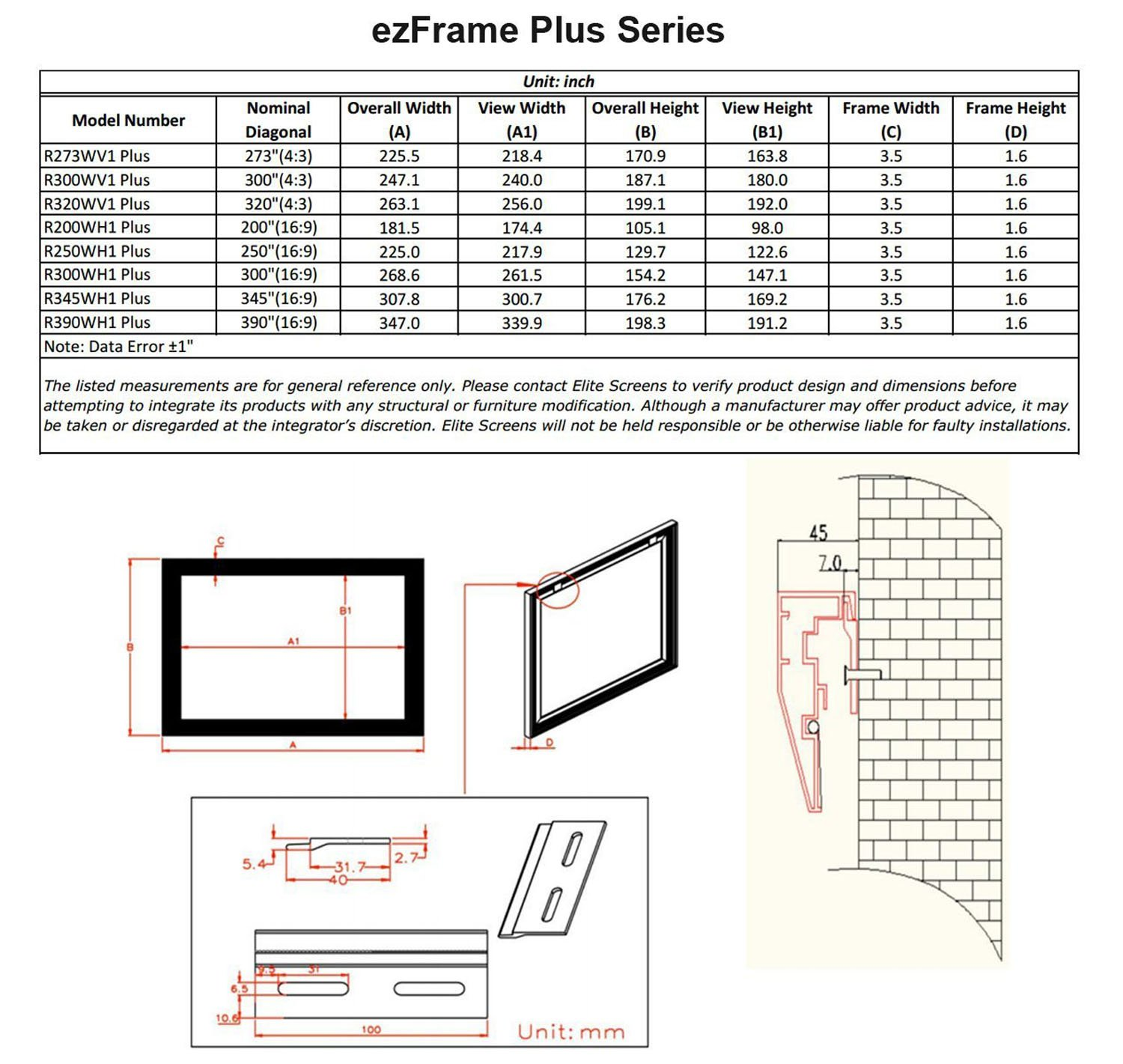 Elite Screens ezFrame Plus Series, 345-inch Diagonal 16:9, Fixed Frame Home Theater Projection Screen, Model: R345WH1 PLUS