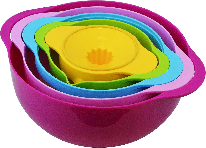 Southern Homewares 5 Piece Compact Nesting Mixing Bowl Colander Sieve Measuring Bowl Juicer Set Stackable Multi-Color