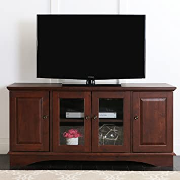 Amazon Com Walker Edison 52 Wood Storage Tv Stand Console Brown