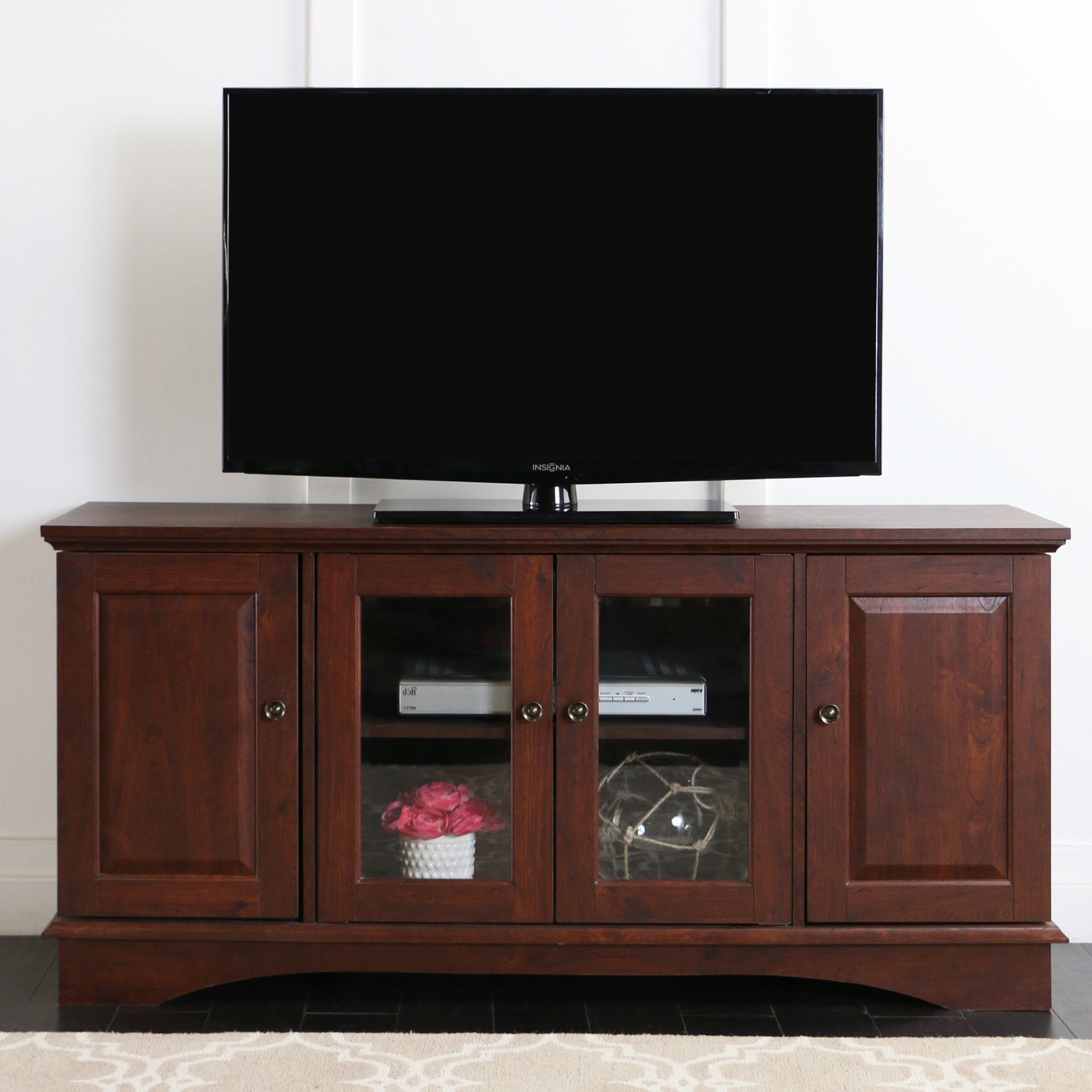 Walker Edison 52'' Wood Storage TV Stand Console, Brown