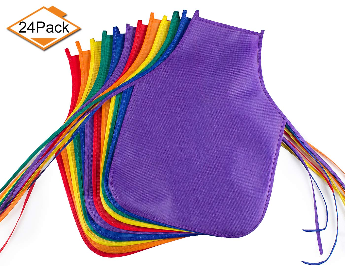 Children's Artists Fabric Aprons - Classroom,Kitchen, Community Event, Crafts & Art Painting Activity. Safe Clean 24 Pack Assorted Colors