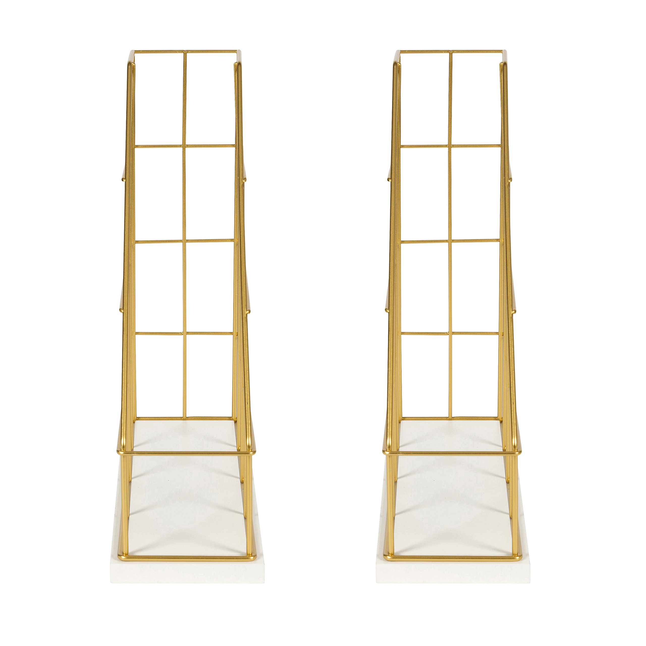 Kate and Laurel Benbrook Metal and Wood Magazine File Holder Desk Organizers, Set of 2, White and Gold by Kate and Laurel (Image #3)