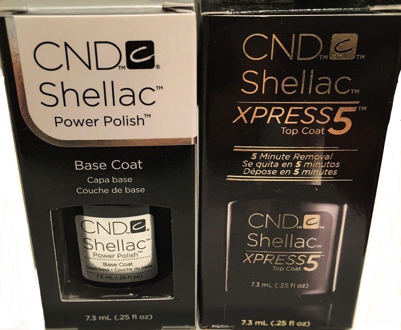 Shellac Gel UV Soak-Off Xpress5 Top Coat & Base Coat 0.25fl.oz ea.- 2 pc Set Top & Base