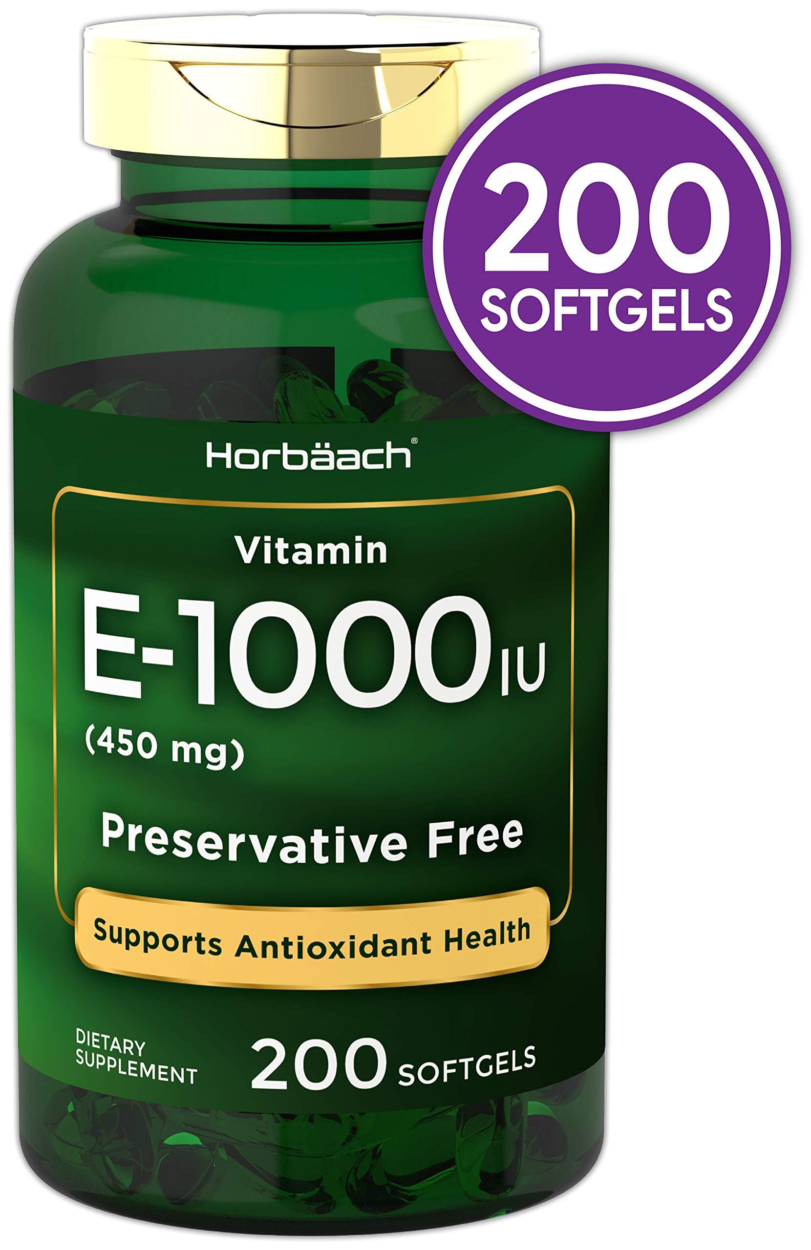 Horbaach Vitamin E 1000 IU 200 Softgel Capsules | Non-GMO, Gluten Free, Preservative Free