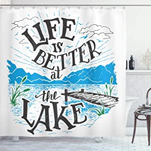 "Ambesonne Cabin Shower Curtain, Life is Better at The Lake Wooden Pier Plants Mountains Sketch Art, Cloth Fabric Bathroom Decor Set with Hooks, 75"" Long, Charcoal Grey"