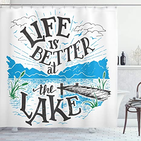 Amazon Com Ambesonne Cabin Shower Curtain Life Is Better At The Lake Wooden Pier Plants Mountains Sketch Art Cloth Fabric Bathroom Decor Set With Hooks 70 Long Charcoal Grey Posters Prints