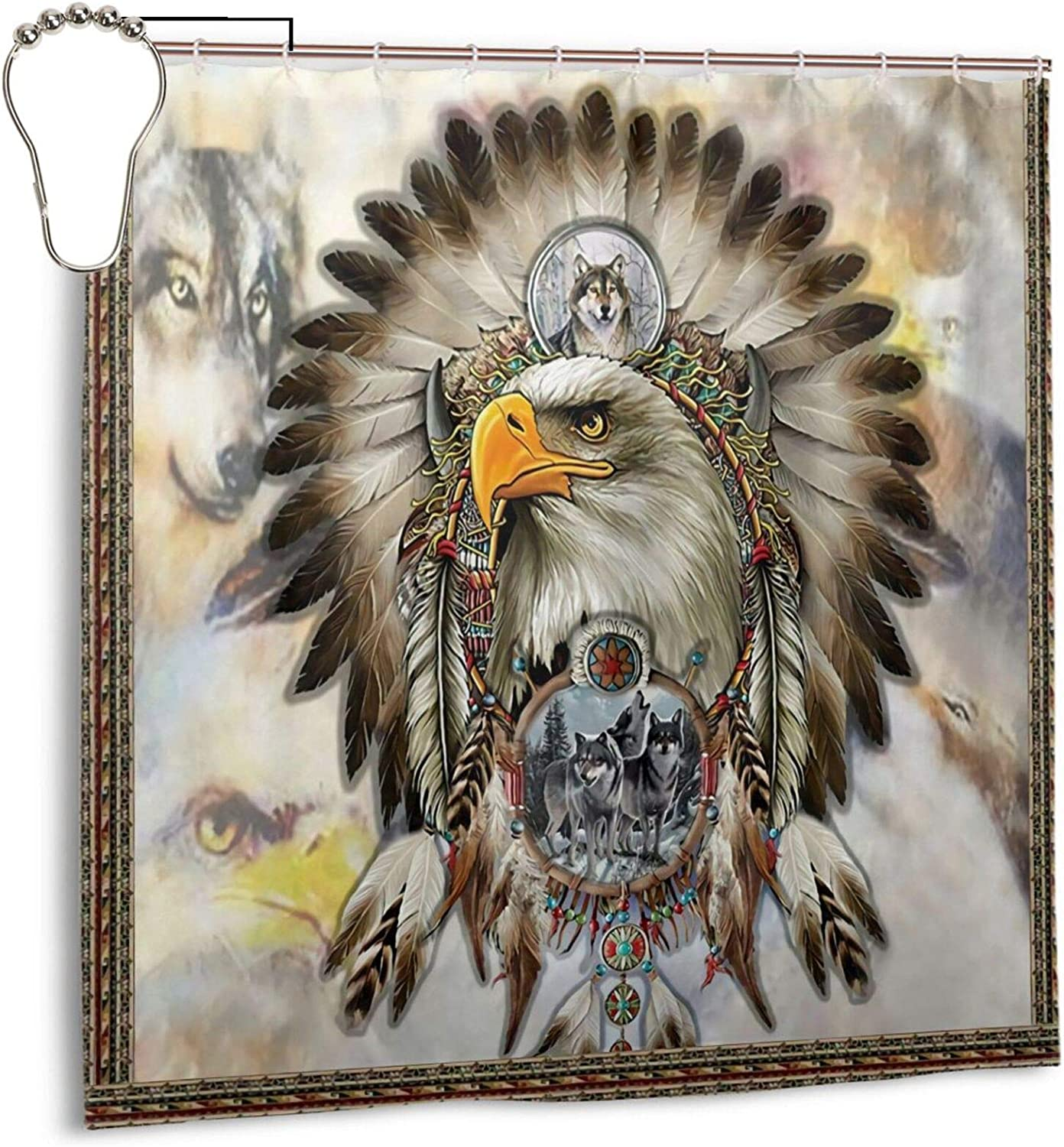 Native American Eagle and Grey Wolfs Dreamcatcher Shower Curtain,Waterproof Polyester Fabric,Bath Curtains Bathroom Decorations Home Decor Sets Beautiful Bathroom Decor with Hooks 72x72 Inch