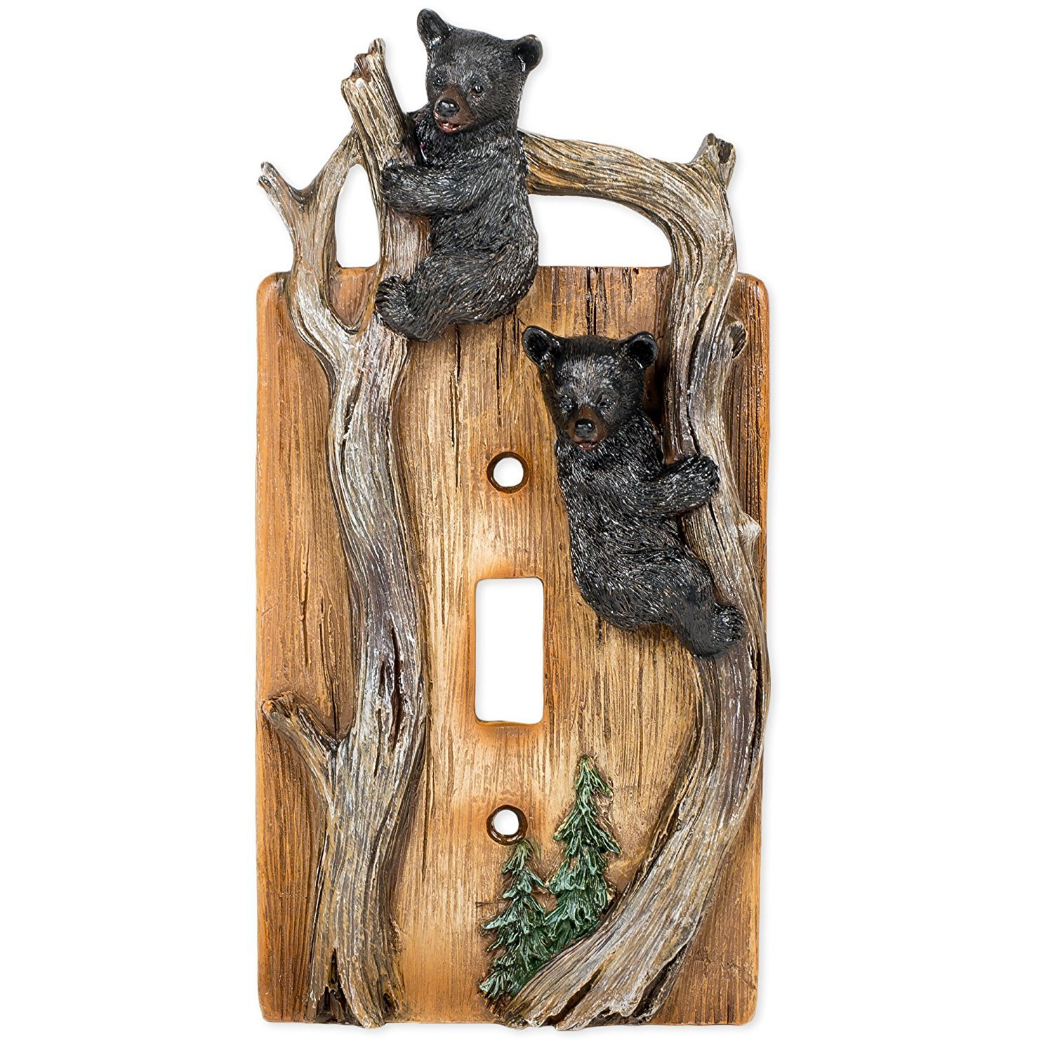 Bears on Tree Limb Electrical Resin Switch Plate Cover by ONXIGLI