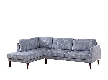 LifeStyle Flint Gray Linen Two Piece Left Chaise Sectional Sofa Set