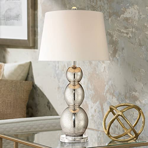 Modern Contemporary Style Table Lamp Antique Mercury Glass Triple Gourd Off White Linen Drum Shade Decor