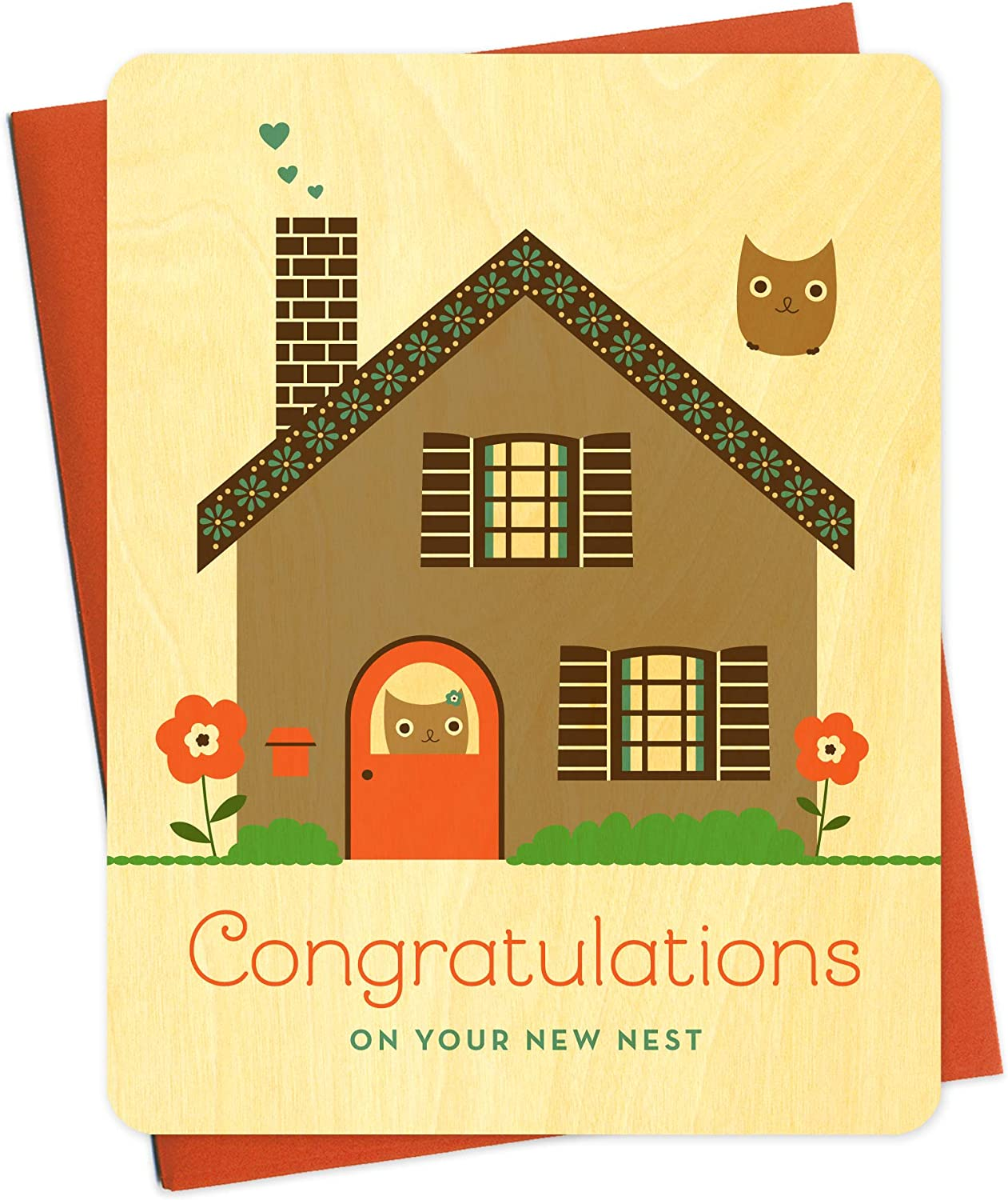 New Nest Wood Congratulations Card by Night Owl Paper Goods