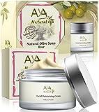 Facial Moisturizer & Natural Soap Kit - Premium Vegan Day Cream 1.7 oz + Rose Wrinkle Face Cleanser 3.4 oz - Shea, Jojoba, Olive, Avocado and Almond Oils Blend Care Set