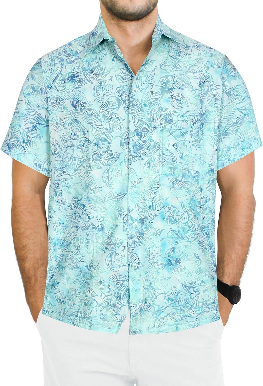LA LEELA Hombres del algodón Camisa Hawaiana brevemente el botón Mangas Abajo