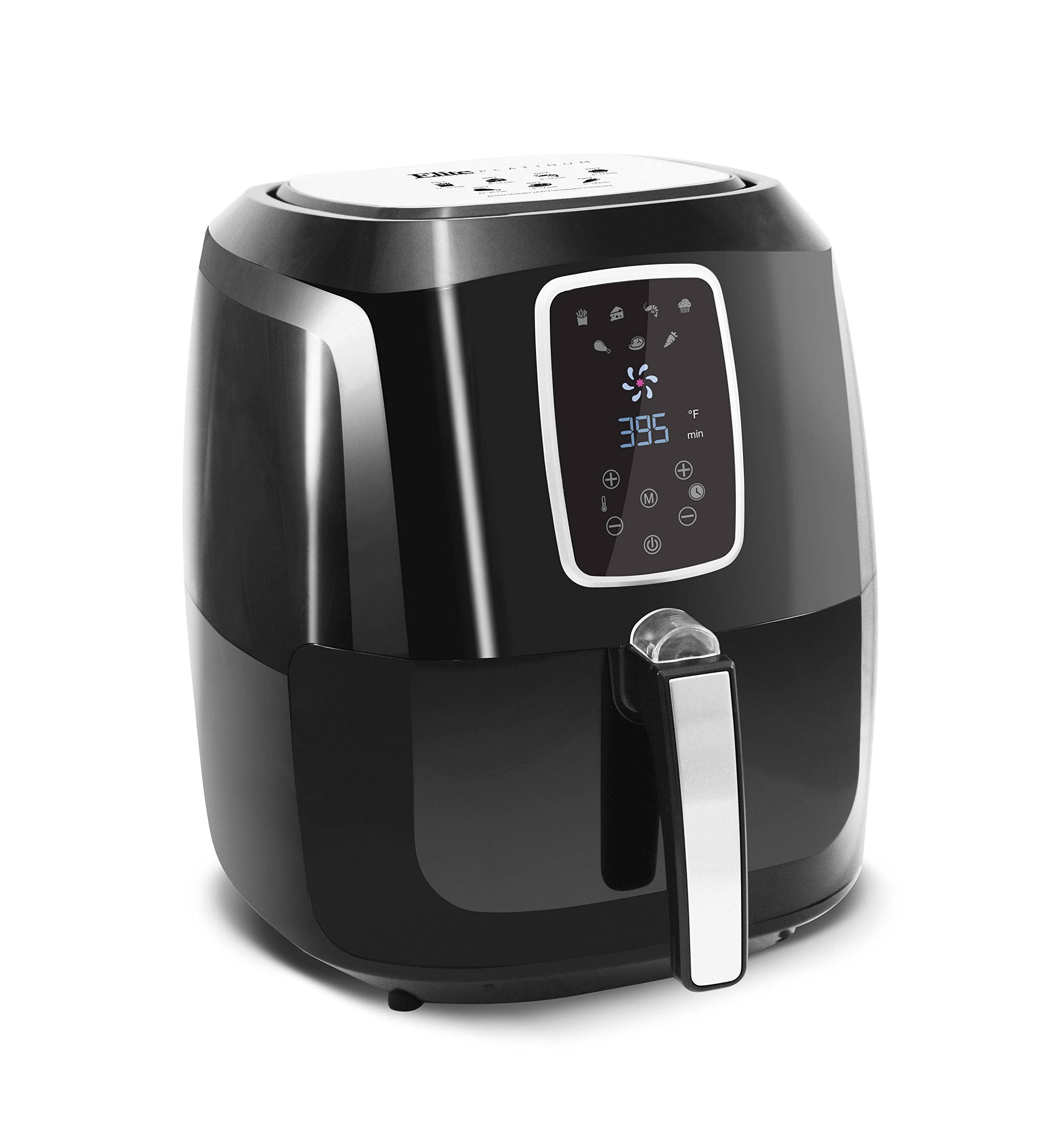 Elite Platinum 5.5 Quart Electric Digital Air Fryer Cooker, 1800-Watts with 26 Full Color Recipes (Black)