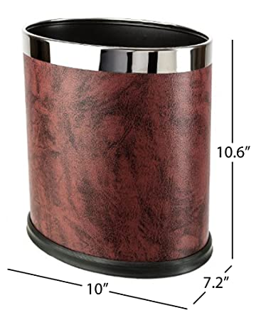 Brelso Super Quality Leatherette Trash Can, Small Office Wastebasket,  Modern Home Décor, Oval