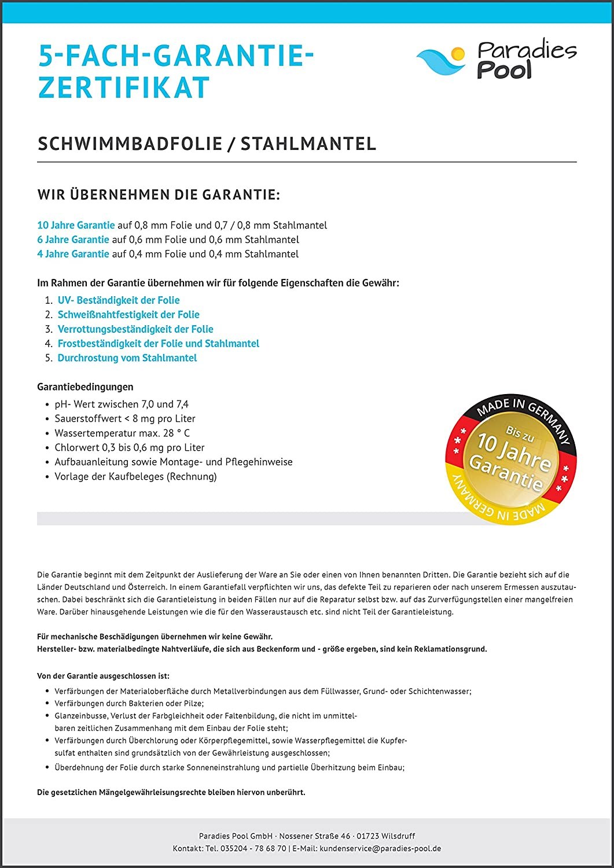 Folie oval 0,8 mm adriablau 3,00 x 5,00 x 1,20 m / Deutsche ...