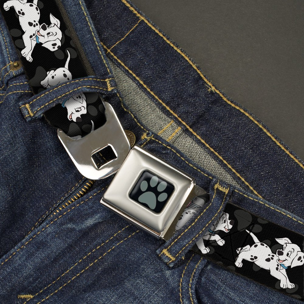 32-52 Inches in Length 1.5 Wide Buckle-Down Seatbelt Belt Dalmatians Running//Paws Black//Gray//White//Black
