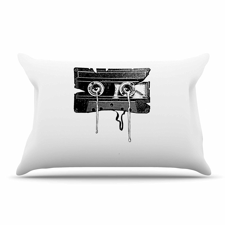 30 X 20 Kess InHouse BarmalisiRTB Cassette Memories Black White Standard Pillow Case 30 by 20-Inch