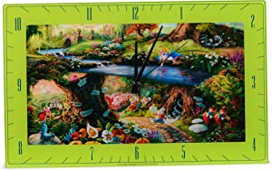 Mark Feldstein & Associates Alice in Wonderland Disney Kinkade Floral Green 16 x 10 Glass Rectangular Wall Clock