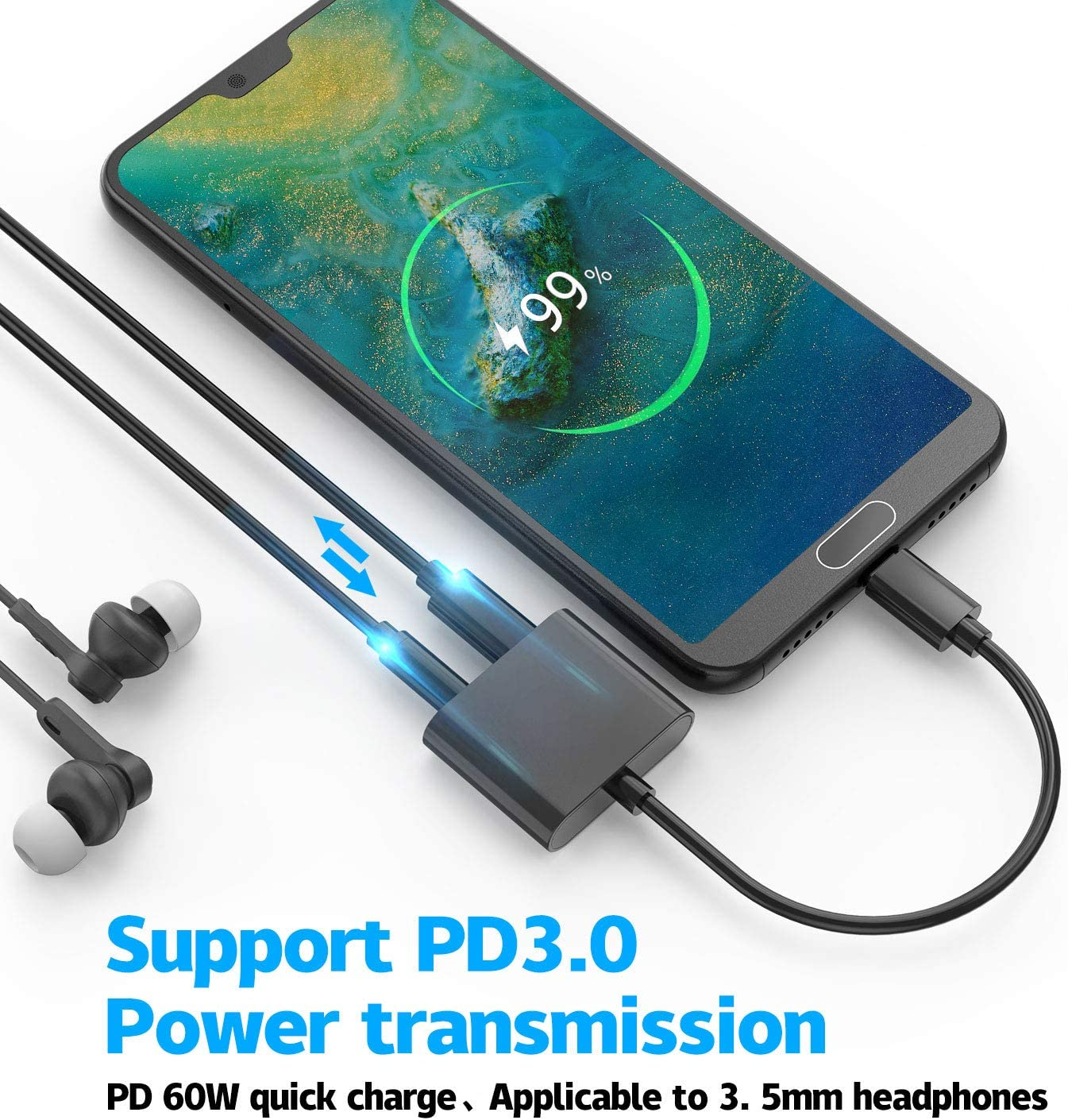 Galaxy Note 10 Compatible with Google Pixel 2//2XL//3//3Xl ACCGUYS USB C to 3.5mm Headphones Adapter iPad Pro 2018 Fast Charging 2 in1 Type C USB to Audio Adapter Huawei and More HTC Hi-Res Sound