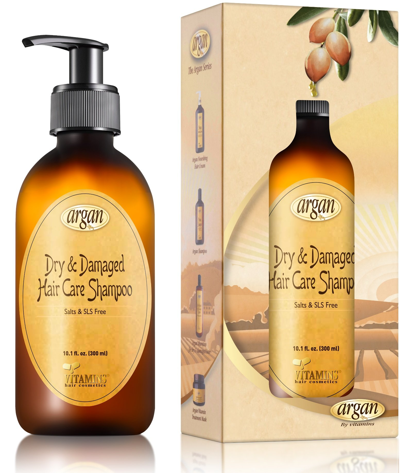 Moroccan Argan Shampoo for Dry Damaged Hair - Exclusive Herbal Oils Blend - Cleanses, Repairs, Nourishes, Softens & Promotes Hair Shine