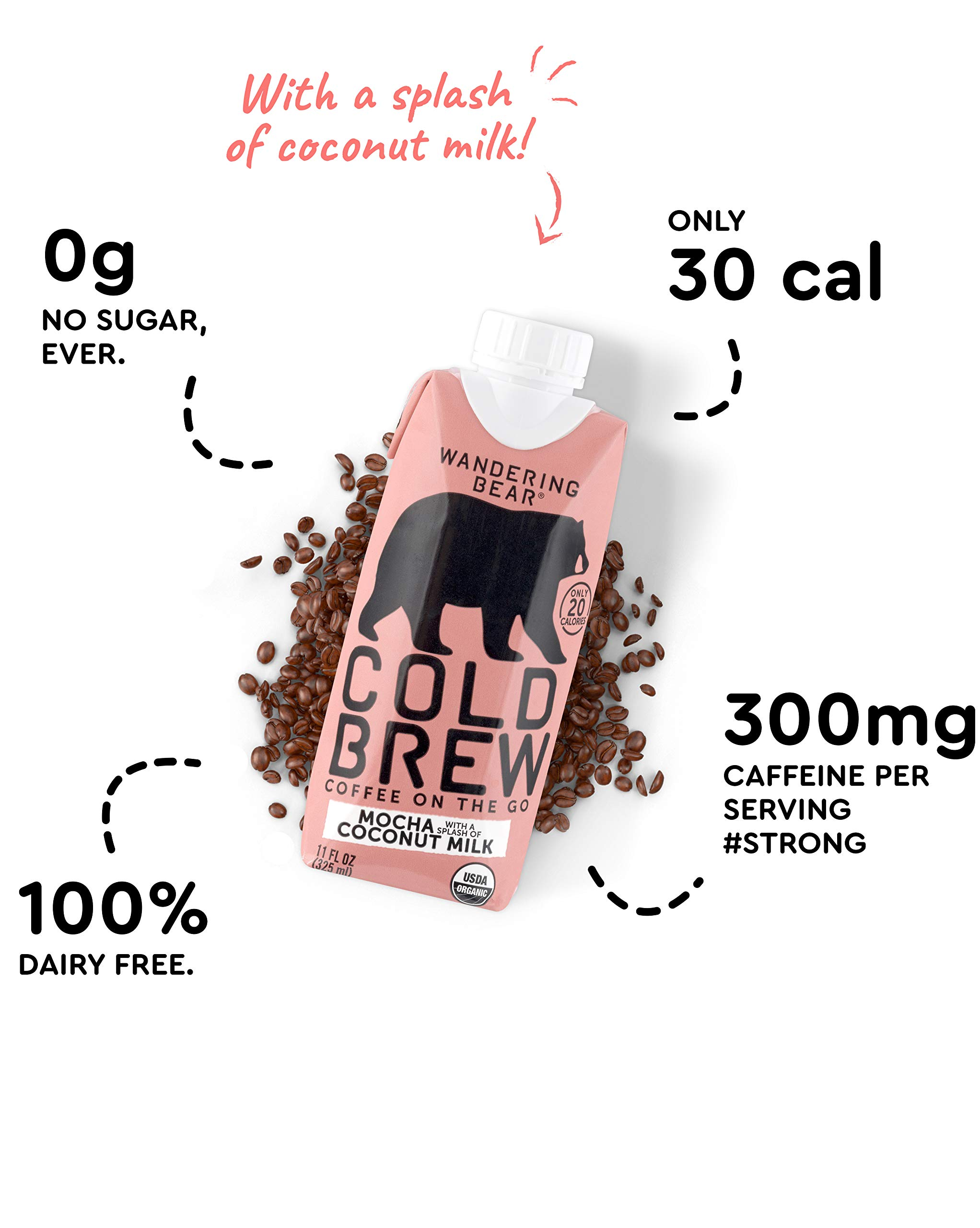 Wandering Bear Organic Cold Brew Coffee On-the-Go 11 oz Carton, Mocha With Splash of Coconut Milk, No Sugar, Ready to Drink, Not a Concentrate (Pack of 12) by Wandering Bear (Image #5)