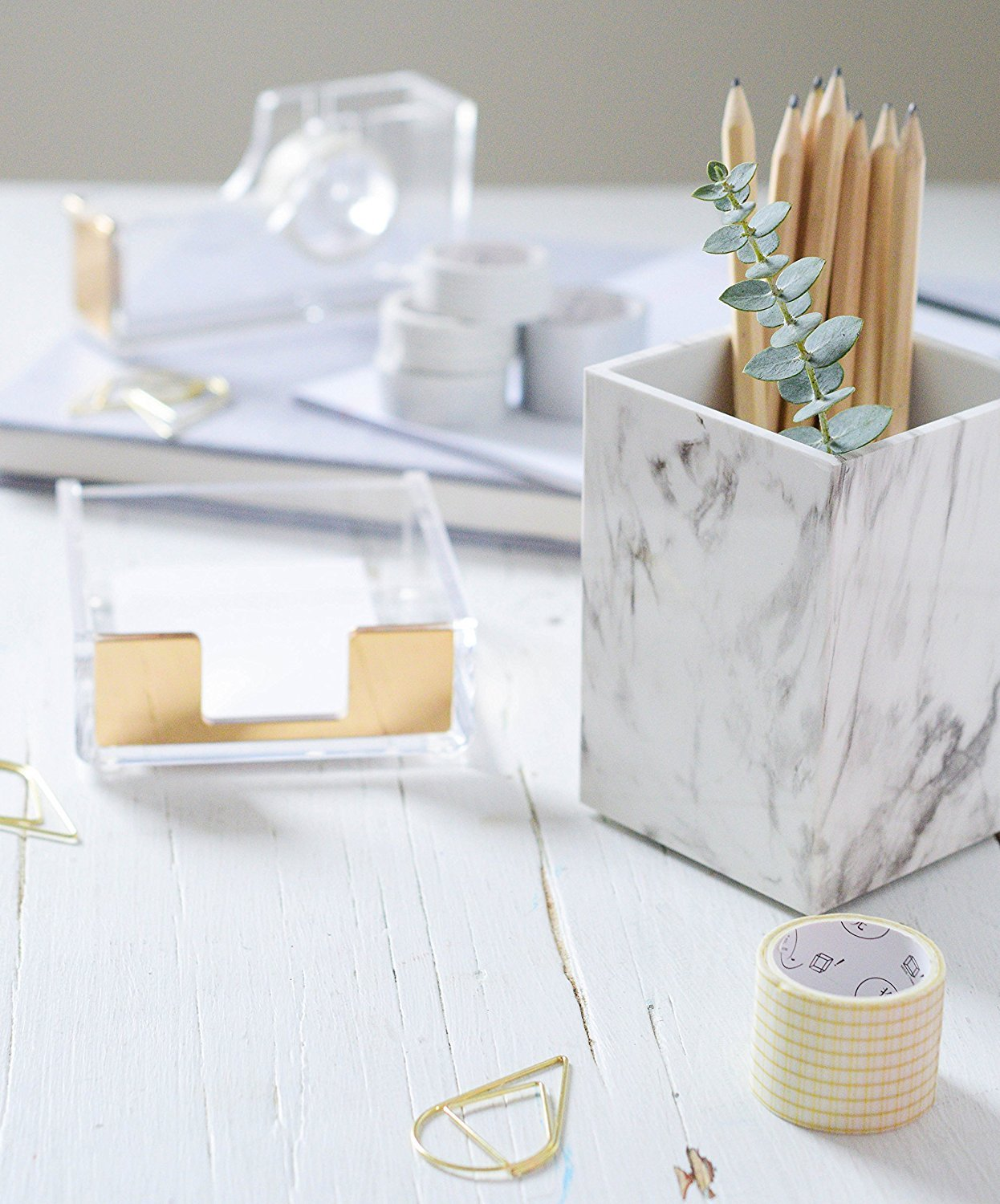 Umiko Decorative Unique Modern White Marble Design Pen and Pencil Cup Holder Stand Organizer Box Case for Desk Home Office Officemate Desktop Classroom School by Umiko (Image #3)