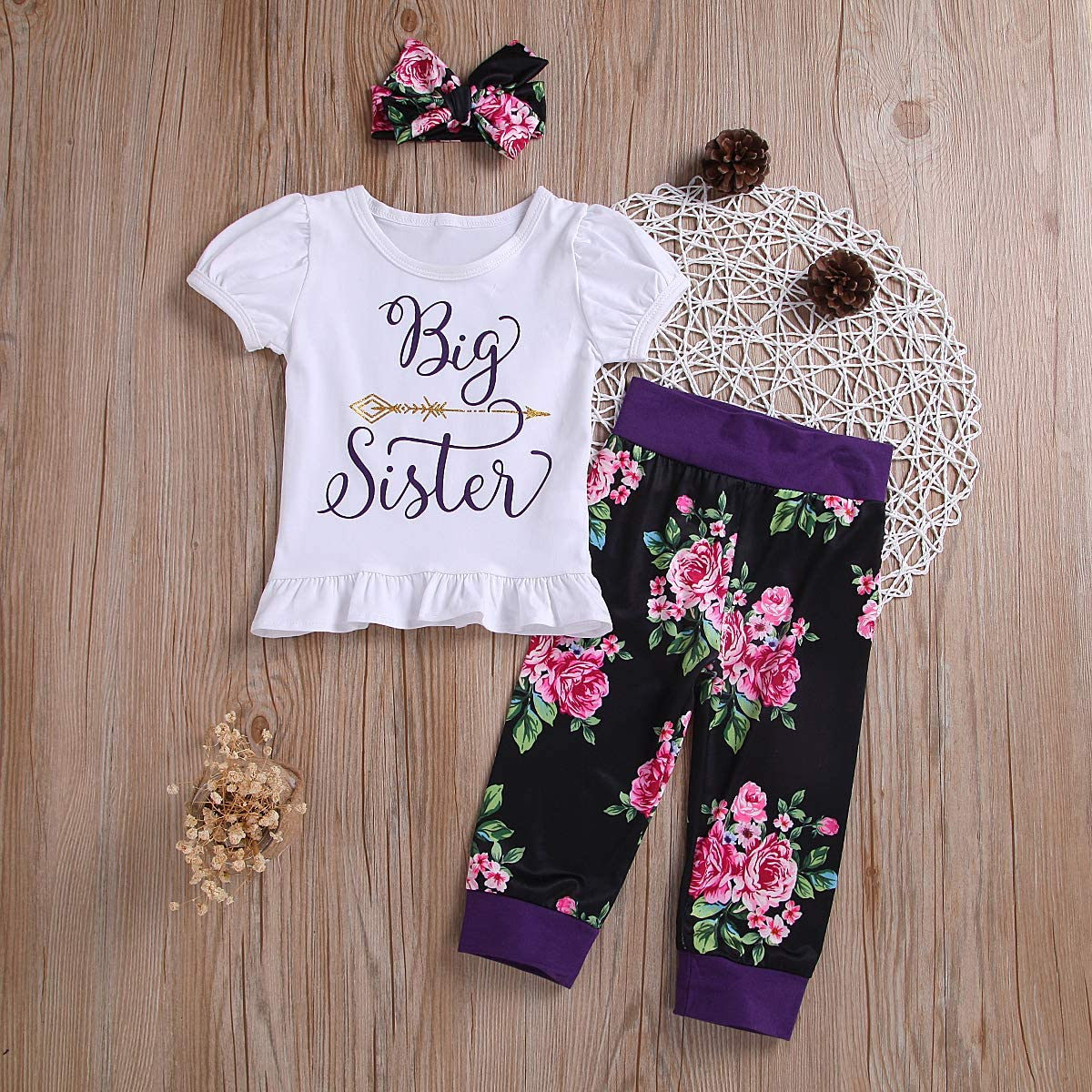 MetCuento Newborn Baby Girl Clothes Ruffle Sleeve Romper Tops Floral Pants Headband Outfit Set 3-24 Months