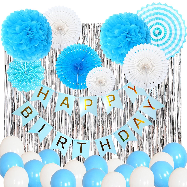 Himeland 31 Stü. Balu Tissue Papier PomPoms, Seiderpapier-Blumen mit Quaste und Girlande für Geburtstag/Hochzeit/Party/Baby-Shower