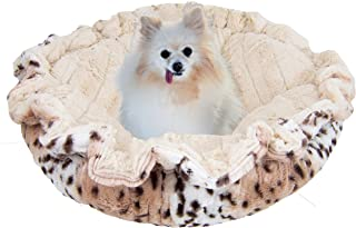 product image for BESSIE AND BARNIE Ultra Plush Aspen Snow Leopard/Natural Beauty Luxury Deluxe Dog/Pet Cuddle Pod Bed