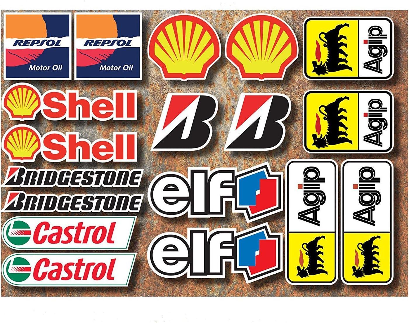 Ti El Es 18 Pvc Aufkleber Set Motorsport Rennsport Motorrad Auto Racing Laminiert Sticker Moto Gp Sponsors Auto
