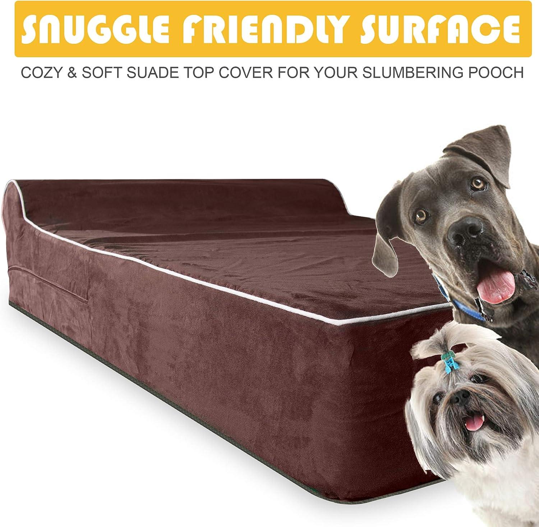KOPEKS Cama Extra Grande para Perros Mascotas con Memoria Viscoel/ástica Ortop/édico 127 x 85 x 18 cm m/ás la almohada XL Marr/ón