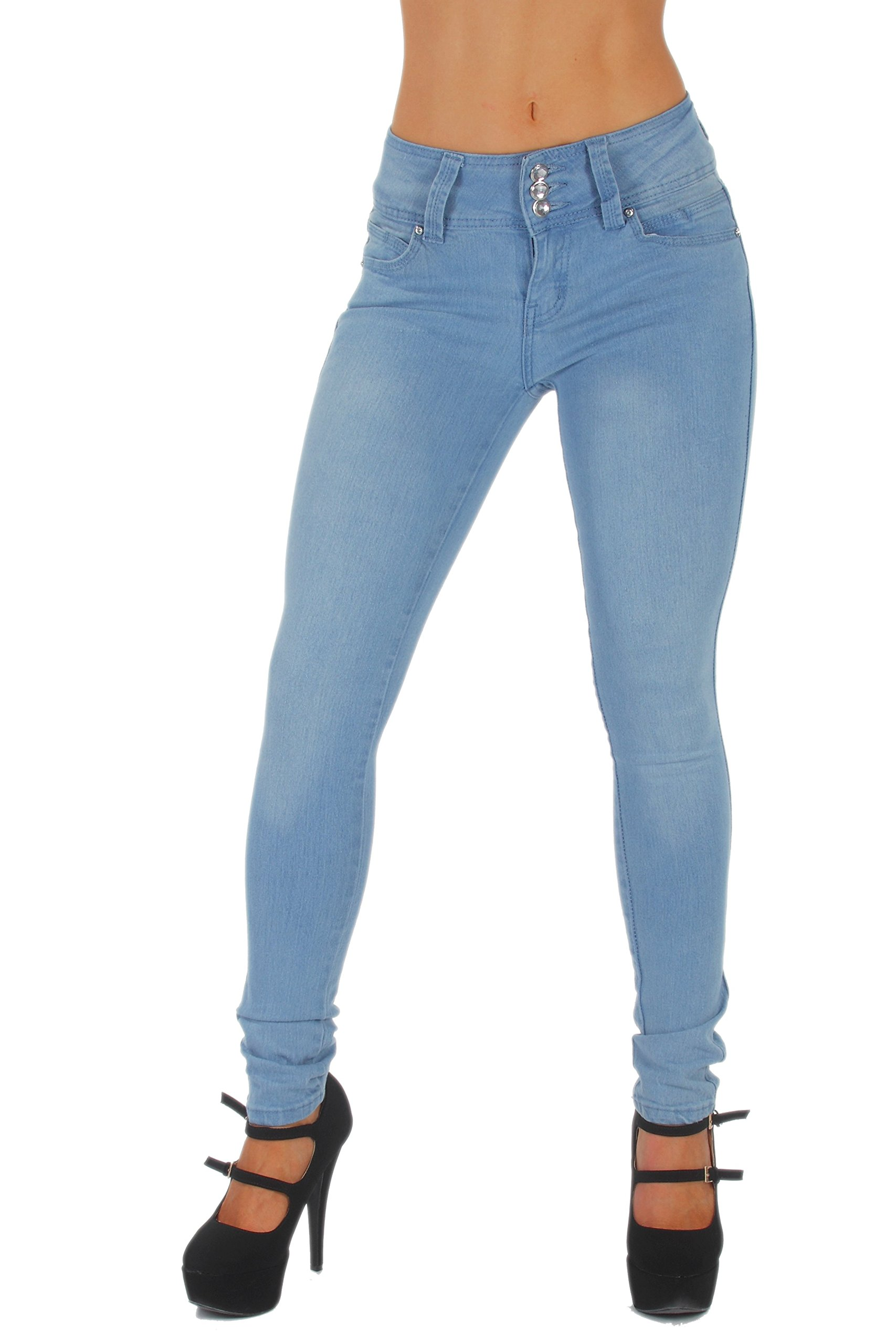 Fashion2Love Style B925K– Colombian Design, Butt Lift, Levanta Cola, Skinny Jeans in Light Blue Size 9