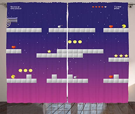 Boyu0027s Room Curtains By Lunarable, 8 Bit Video Game Location Arcade Games  Star Bomb