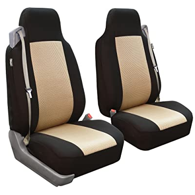 FH Group FB302BEIGE102 Beige Classic Cloth Built-in Seatbelt Compatible High Back Seat Cover, Set of 2: Automotive