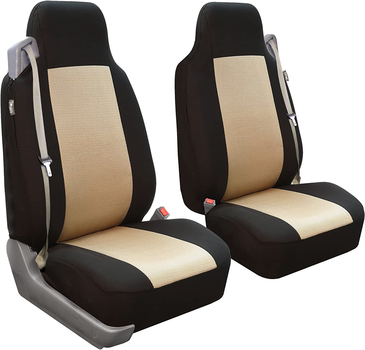 Amazon Com Fh Group Fb302beige102 Beige Classic Cloth Built In Seatbelt Compatible High Back Seat Cover Set Of 2 Automotive