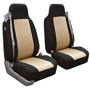 FH Group FB302BEIGE102 Beige Classic Cloth Built In Seatbelt Compatible High Back Seat Cover
