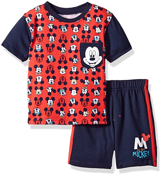 911ec00468b7 Amazon.com: Disney Baby Boys' 2 Piece Mickey Mouse French Terry Short Set,  Red-T-shirt, 18m: Clothing