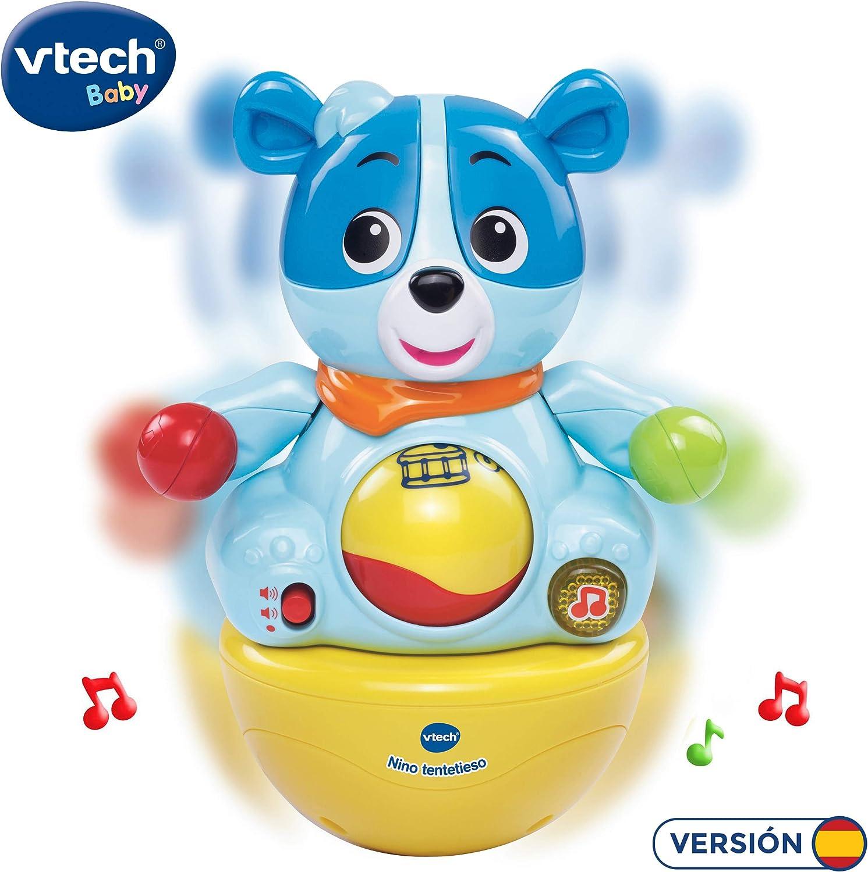 VTech - Nino tentetieso, muñeco interactivo tentempié que activa alegres frases y melodías cuando el bebé lo mueve, maracas en las manos para jugar (3480-166422)